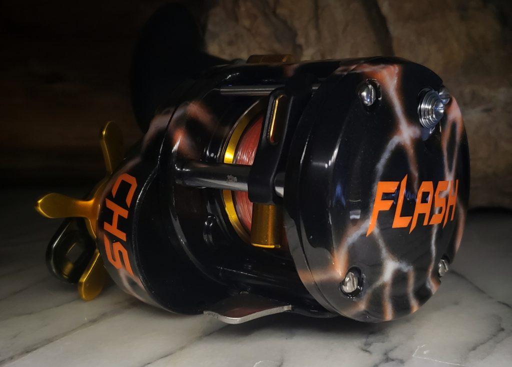 Heavy Duty Baitcaster Custom White and Orange Lightning